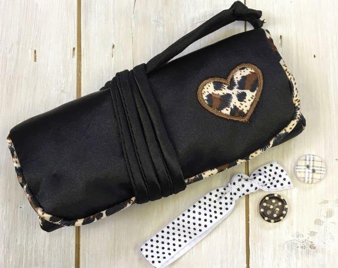 Handmade Jewellery Roll, , luxury satin fabric, Paisley satin lining,  Black with applique heart design