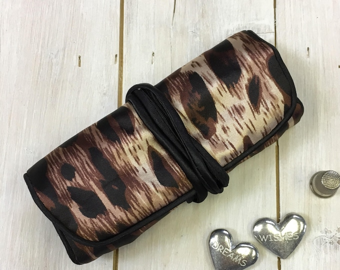 Handmade Jewellery Roll,  Animal Print, luxury satin fabric