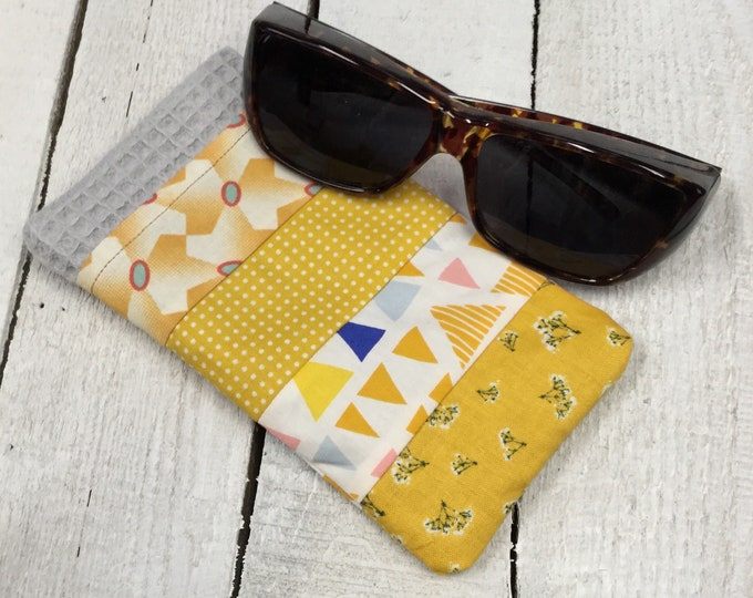 Patchwork sunglasses case, pretty  cotton fabric,  large size - perfect for fitover sunglasses, handmade - yellow  mix