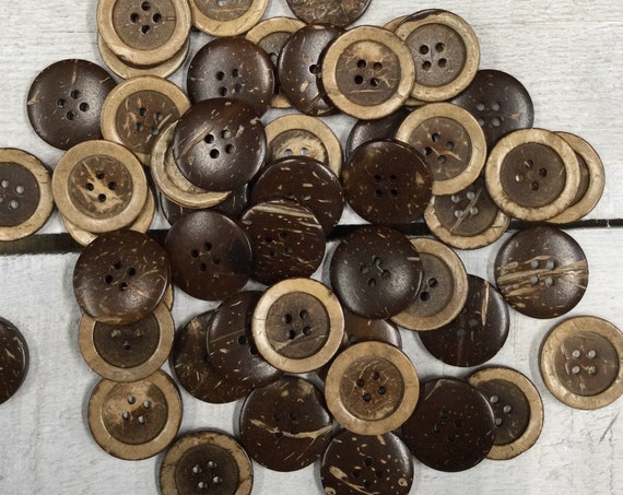 Coconut Shell Buttons - 4 holes - 25mm, Sustainable, Natural Buttons, Wooden Buttons, Pack of 6
