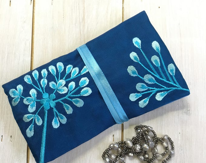 Handmade Silk Jewellery Roll with Embroidery, Fairtrade - sapphire blue