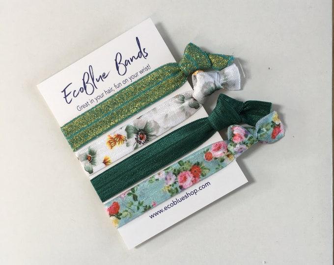 4 hair elastics, soft stretch hair ties, ponies, yoga hair ties, bracelets, ponytail holders - Green floral mix