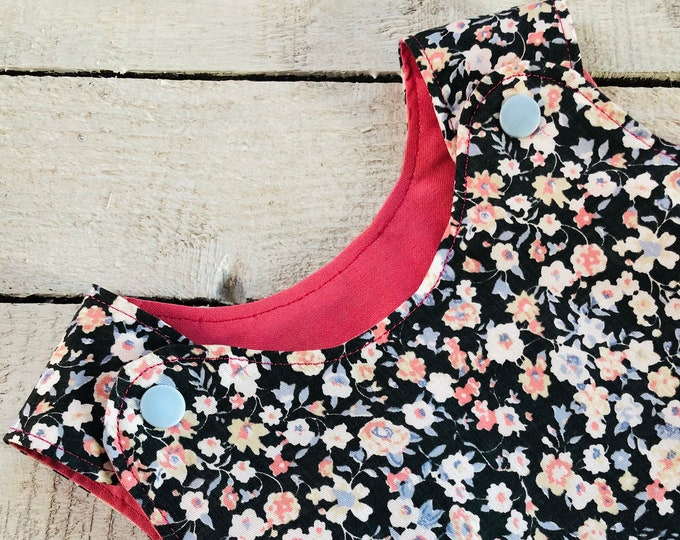 Little girls reversible pinafore dress tunic, baby shower gift