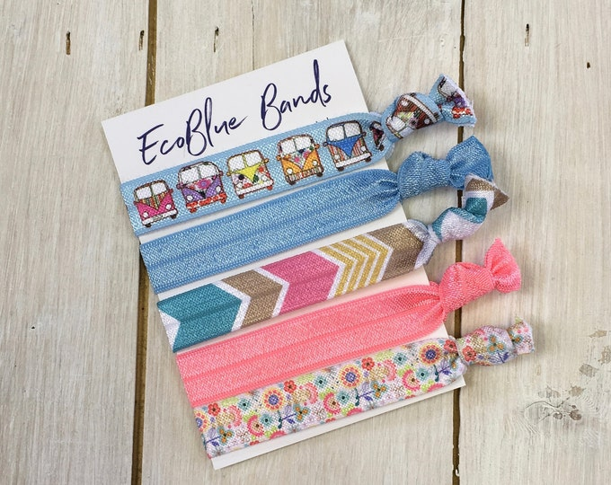 5 hair elastics, soft stretch hair ties, ponies, yoga hair ties, bracelets, ponytail holders - VW Campervan mix