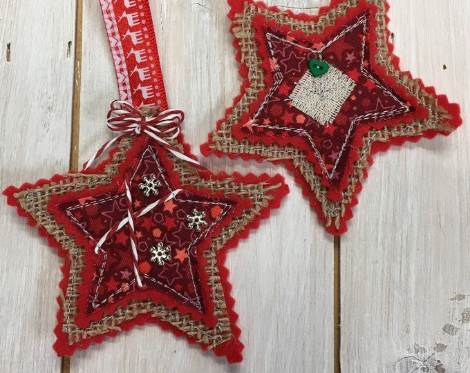 Red Star Christmas Tree Hanging Decorations, Handmade,  Embroidered, Felt, Holiday Fabric, buttons, silver-tone snowflakes  and trimmings