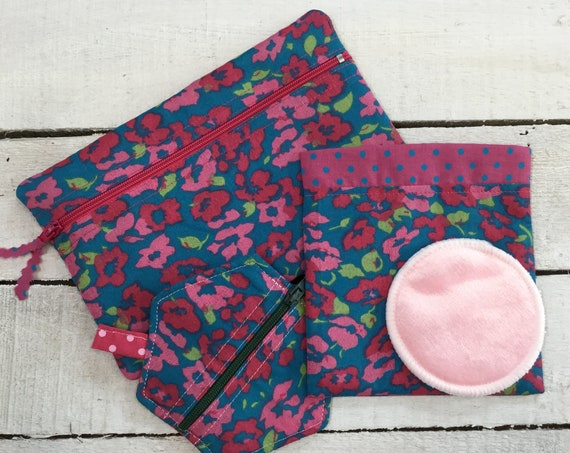 Reusable make-up remover wash pads with handmade pouch. Matching cosmetic purse and earring or earbud pouch. Face Pads, Eco friendly Gift,
