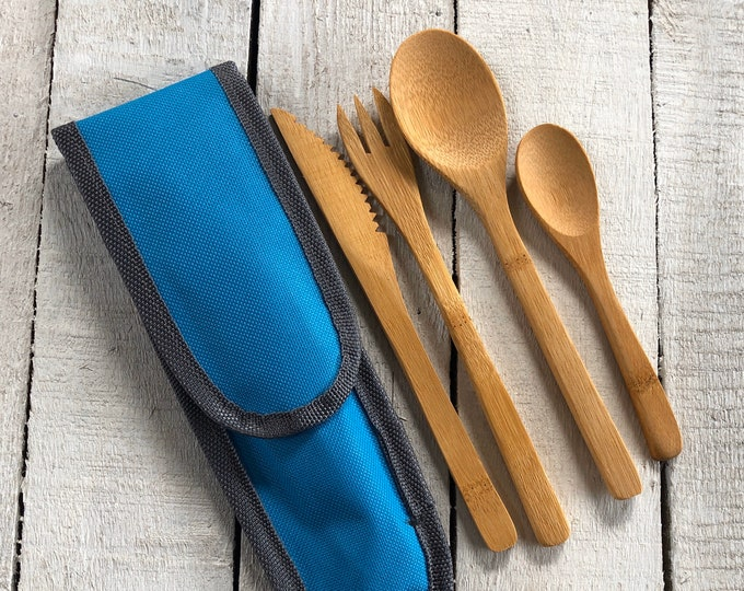 Bamboo cutlery set with travel pouch, eco friendly gift, zero waste, plastic free