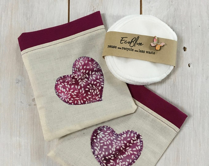 Reusable make-up remover wash pads, with handmade travel bag pouch, purple heart applique embroidery