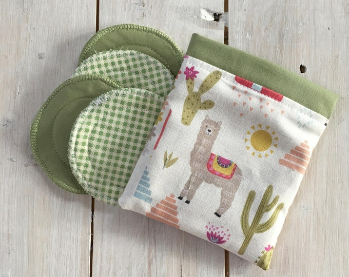 Reusable make-up remover wash pads, with handmade travel bag pouch in llama fabric. Face Pads, Eco Friendly Gift, Washable Facial Rounds