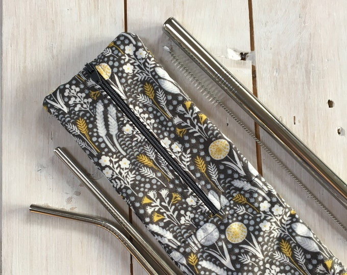 Stainless Steel Straw Set (3 straws with cleaning brush) and hygienic washable handmade travel pouch in grey and yellow wheatsheaf fabric