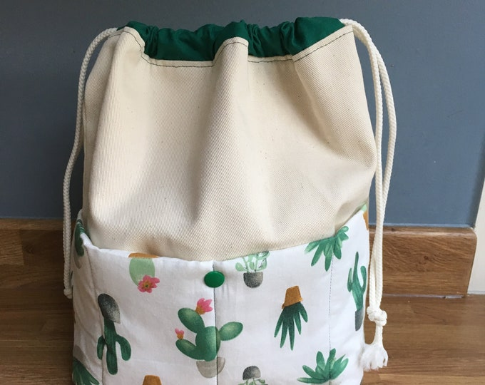 Handmade Knitting Project Bag in cactus fabric, Craft Holdall, drawstring bag with pocket, gift for her, gift for knitter