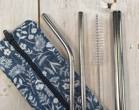 Stainless Steel Straw Set (3 straws) with hygienic washable handmade travel pouch and cleaning brush, denim blue wheatsheaf fabric