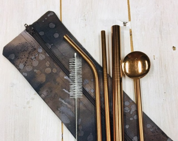 Luxury Stainless Steel Straw Set (3 straws, spoon & cleaning brush) in hygienic washable handmade travel pouch in cotton fabric