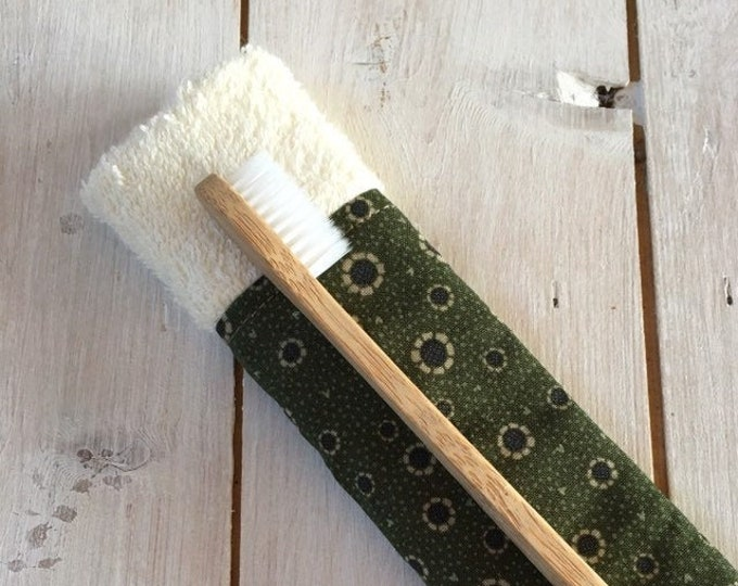 Natural Eco Friendly Bamboo Toothbrush with Travel Case Holder Pouch