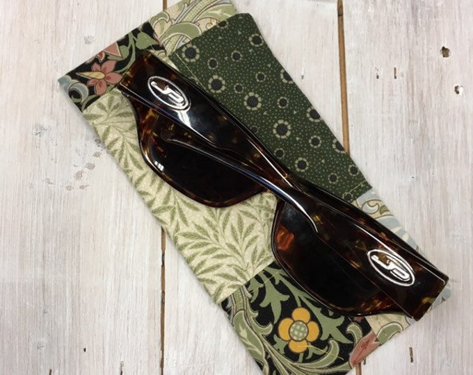 Patchwork sunglasses case, pretty  cotton fabric, choice of fabrics, large size - perfect for fitover sunglasses, handmade - green mix