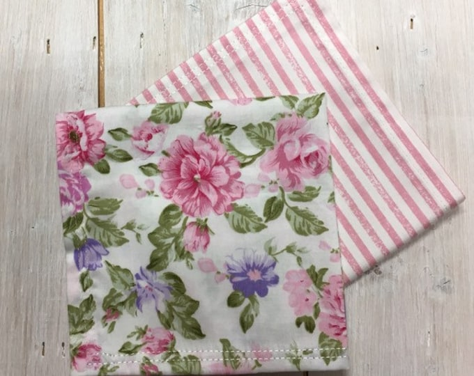 Womens, Ladies Cotton Handkerchief, Handmade, Pocket Square, Girls Hankie, Gifts for Her (twin pack)