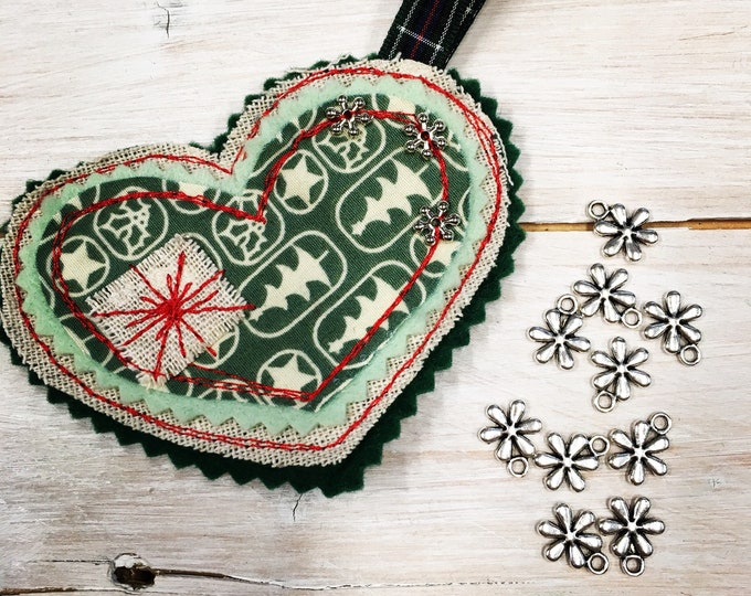 Heart Christmas Tree Hanging Decoration, Handmade,  Embroidered, Soft Green Felt, Holiday Fabric and snowflake silver tone beads and sequins
