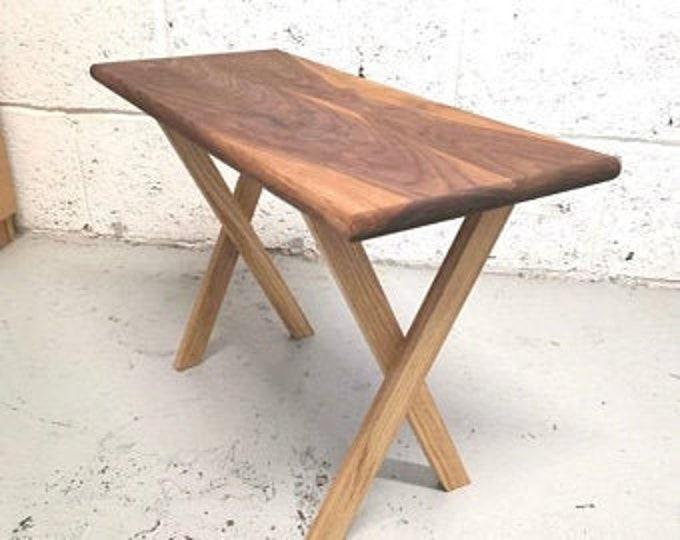 Walnut and Oak Side table, solid wood, handmade