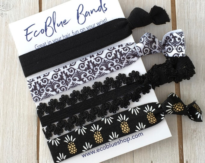 Hair elastics, soft stretch hair ties, ponies, yoga hair ties, bracelets, ponytail holders - Monochrome mix