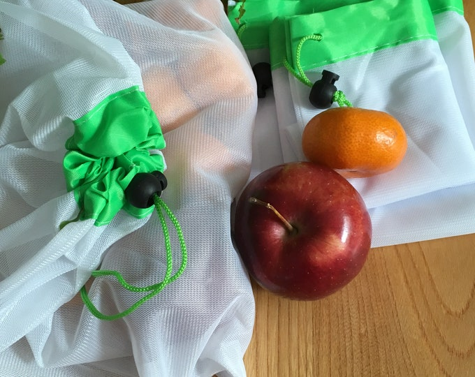 Reusable, eco-friendly produce bags. Zero waste vegetable produce bags. Sustainable shopping produce bags.