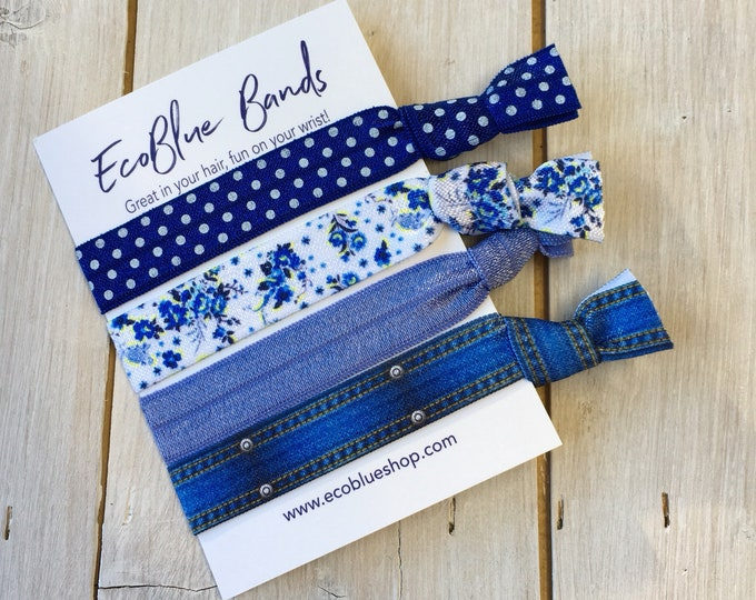 Hair elastics, soft stretch hair ties, ponies, yoga hair ties, bracelets, ponytail holders - Denim Blue mix