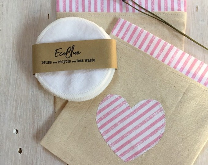 Reusable make-up remover wash pads, with handmade travel bag pouch, pink heart applique embroidery