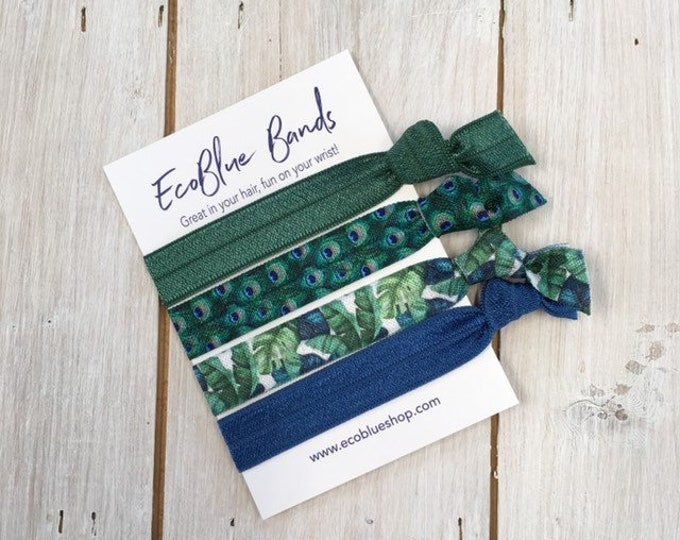 Hair elastics, soft stretch hair ties, ponies, yoga hair ties, bracelets, ponytail holders - Green Feather mix