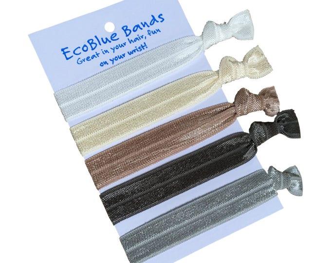 5 hair elastics, soft stretch hair ties, ponies, yoga hair ties, bracelets, ponytail holders - Neutral Tones