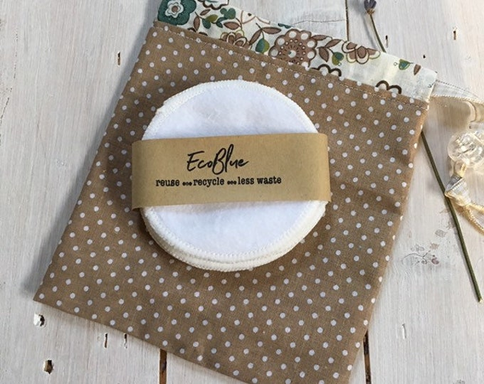 Reusable make-up remover wash pads, with handmade cotton travel bag pouch in brown polka dots