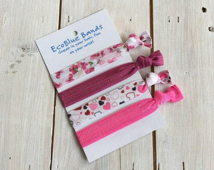 4 hair elastics, soft stretch hair ties, ponies, yoga hair ties, bracelets, ponytail holders - Pink Floral