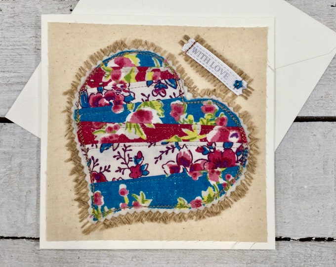 Handmade greetings card, embroidered patchwork heart design, ideal for Valentines, birthday, anniversary, mothers day, wedding day