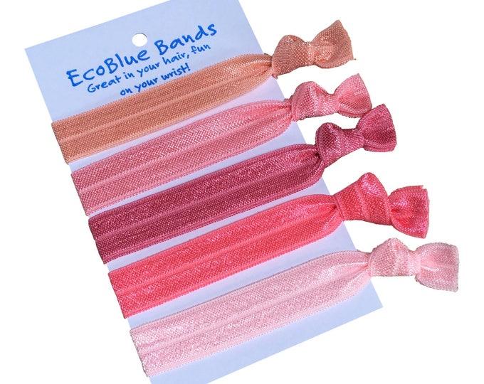 5 hair elastics, soft stretch hair ties, ponies, yoga hair ties, bracelets, ponytail holders - Pink Tones