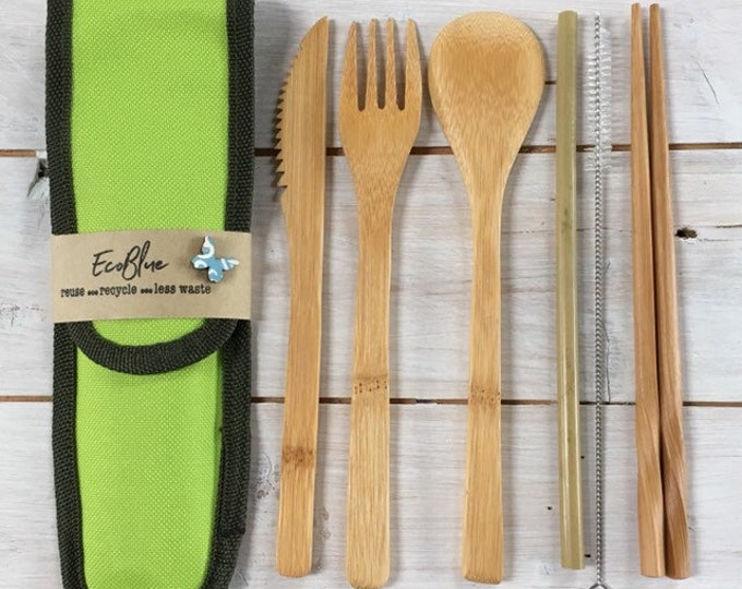 Bamboo cutlery set and straw with travel pouch and cleaning brush, eco friendly gift, zero waste, plastic free