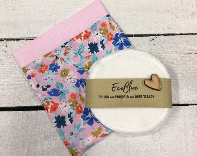 Liberty fabric handmade travel or gift bag with reusable make-up remover wash pads.  Face Pads, Eco Friendly Gift, Washable Facial Rounds