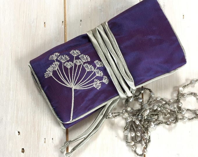 Handmade Silk Jewellery Roll,  Embroidered, Purple silk with Flower Embroidery and silver piping