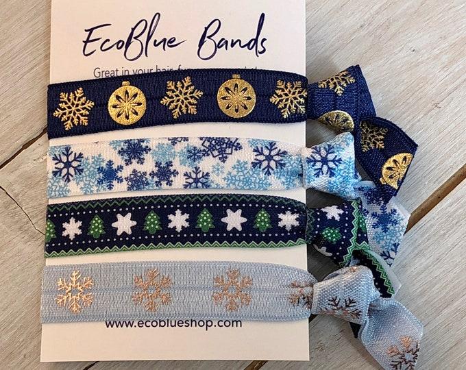 Christmas Hair elastics, soft stretch hair ties, ponies, yoga hair ties, bracelets, ponytail holders - blue snowflakes