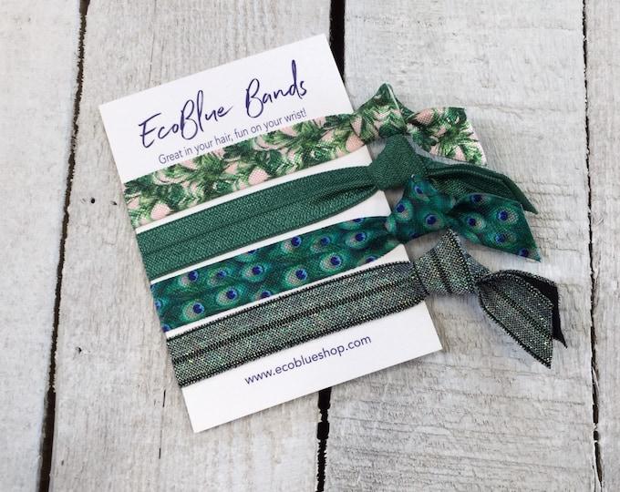 Hair elastics, soft stretch hair ties, ponies, yoga hair ties, bracelets, ponytail holders - Green Fern mix