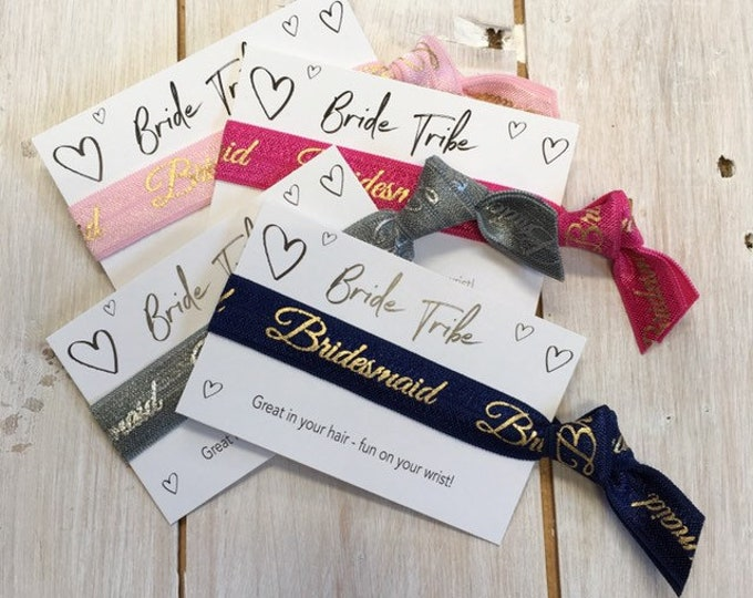 Hen Party, Bridal Shower, Bride, Bridesmaid, Flower Girl, Maid of Honour, wristband, Hair elastic, gift party favours (1 hair tie on card)
