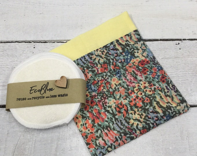 Liberty fabric reusable make-up remover wash pads, with handmade travel or gift bag.  Face Pads, Eco Friendly Gift, Washable Facial Rounds