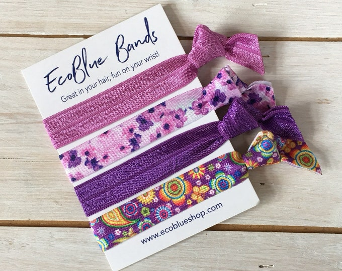 Hair elastics, soft stretch hair ties, ponies, yoga hair ties, bracelets, ponytail holders - Lavender mix
