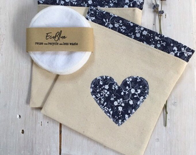 Reusable make-up remover wash pads, with handmade travel bag pouch, navy heart applique embroidery