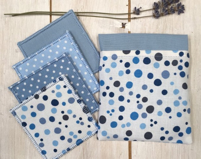 Reusable make-up remover wash pads, with handmade travel bag pouch in blue spot fabric. Face Pads, Eco Friendly Gift, Washable Facial Rounds