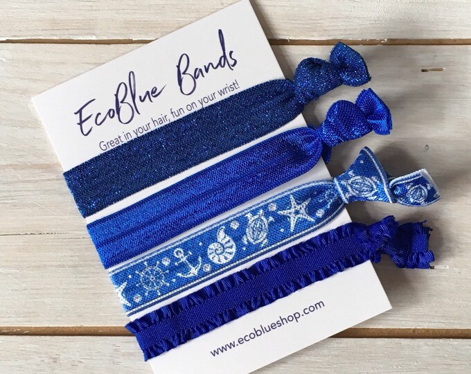 Hair elastics, soft stretch hair ties, ponies, yoga hair ties, bracelets, ponytail holders - Pacific Blue