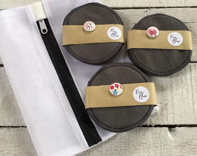 Luxury soft reusable make-up remover wash pads, make up rounds, washing or travel bag. (black)