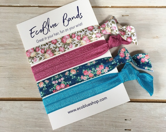 Hair elastics, soft stretch hair ties, ponies, yoga hair ties, bracelets, ponytail holders - Blue/Pink Florals