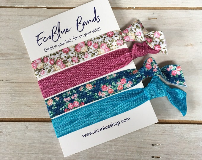 Hair elastics, soft stretch hair ties, ponies, yoga hair ties, bracelets, ponytail holders - Blue/Burgundy Florals
