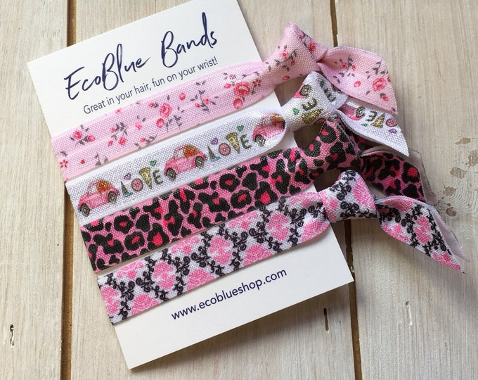 Hair elastics, soft stretch hair ties, ponies, yoga hair ties, bracelets, ponytail holders - Pink Animal Print