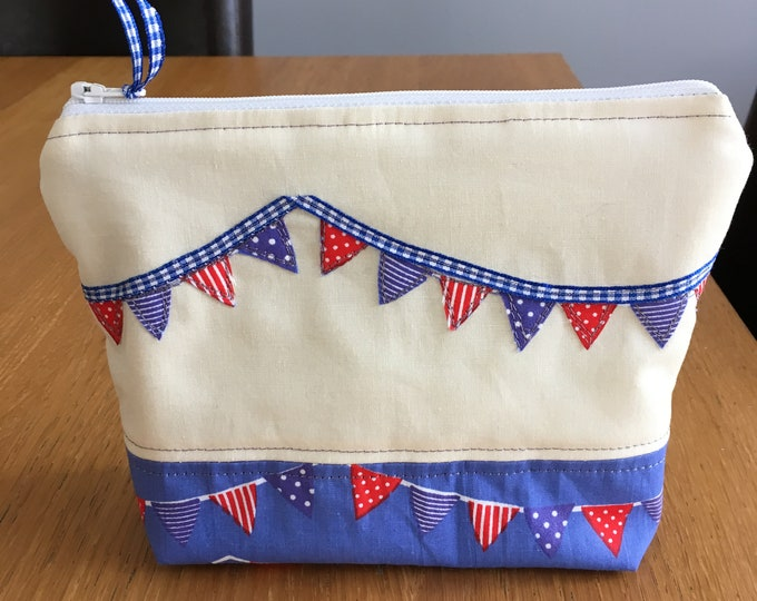 Handmade make up bag, cosmetics purse - Blue seaside flags