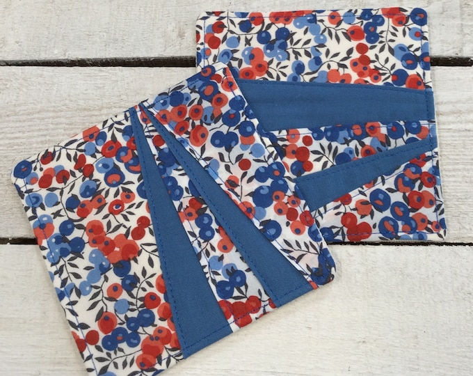 Liberty Fabric Coasters - 1 pair, Mug Rug, Table Mat, Handmade, Wiltshire Red Fabric