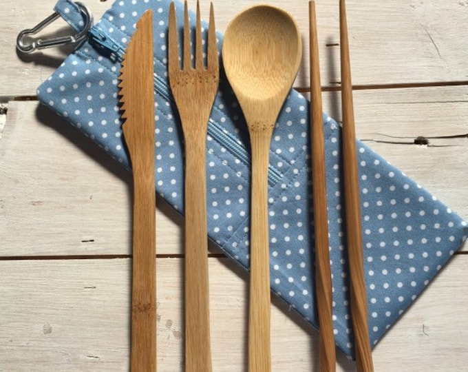 Bamboo cutlery set with hygienic washable handmade travel pouch, eco gift, zero waste